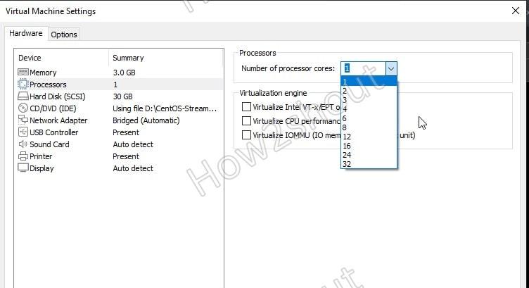 Set CPU core on VM