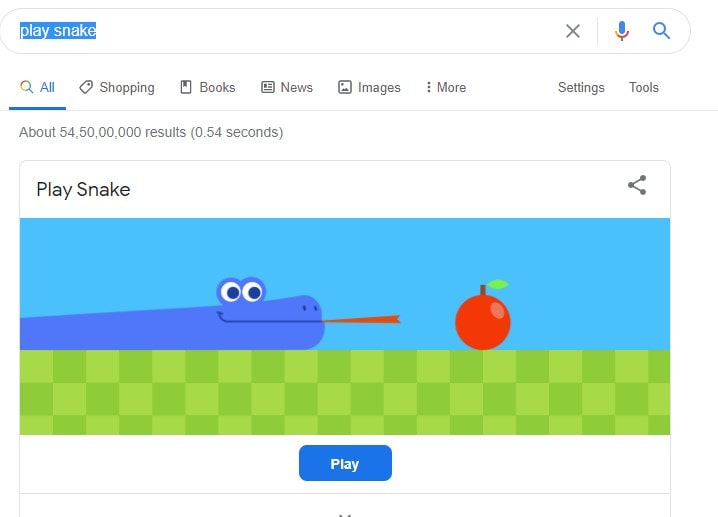 Snake Easter game on Search engine