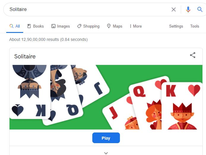 Solitaire Google game