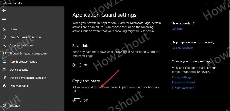 Application Guard Settings