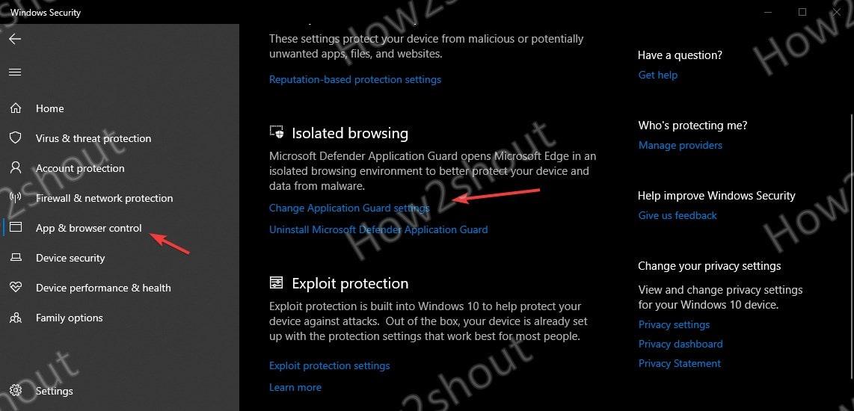 Change Application Guard Settings for Microsoft Edge browser