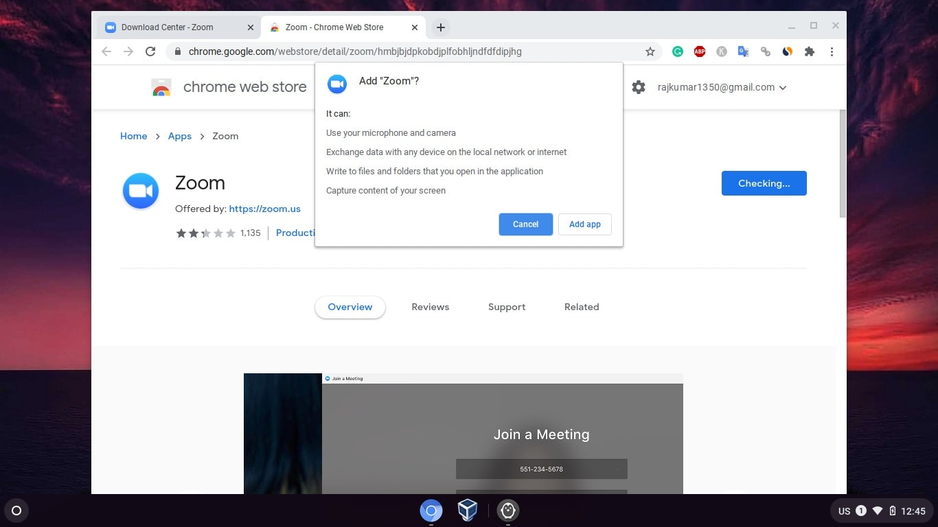 Install Zoom mettings app on Chromebook min
