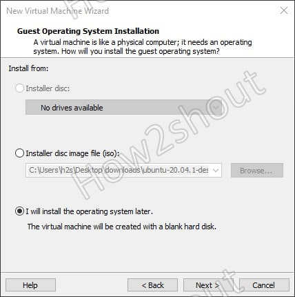 Install operating sysytem using bootable vmware usb drive