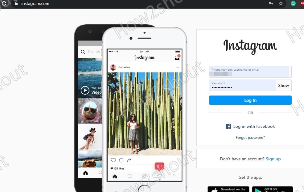 Login to Instagram on Pc or laptop