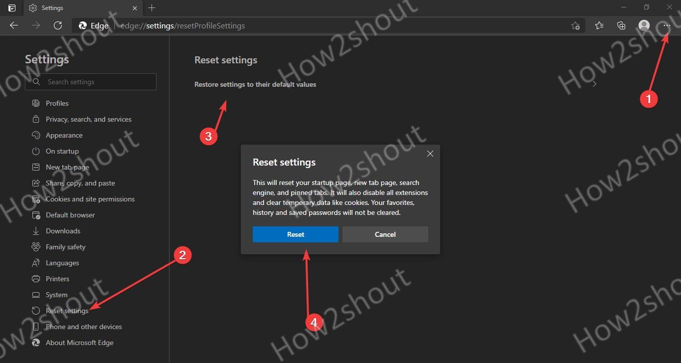 Reset Microsoft Edge browser settings