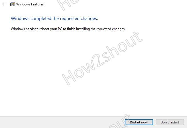 Restart Windows to install feature update