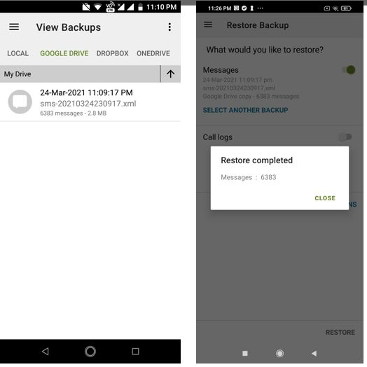 Restore backup text message on new ANdroid phone