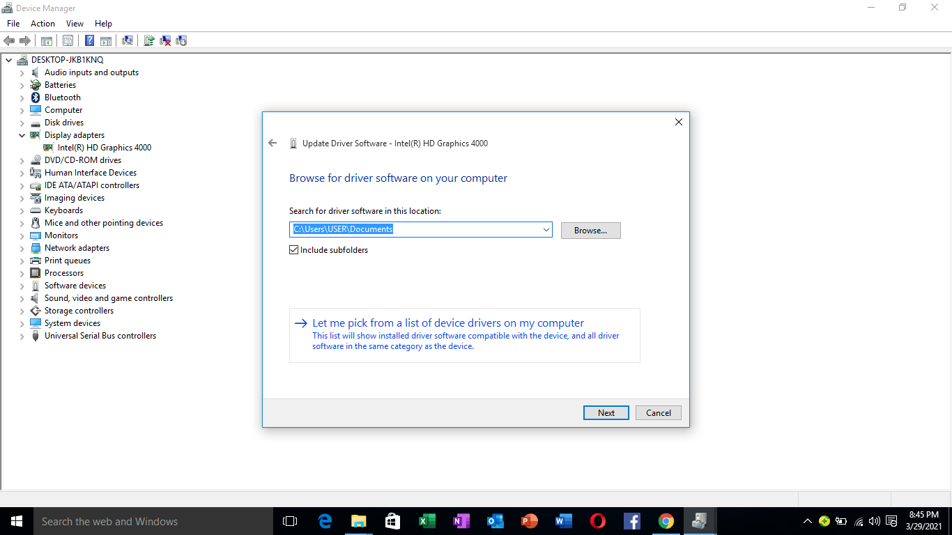 manual search and update Windows 10 driver option