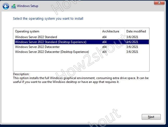 Select Windows server with GUI desktop