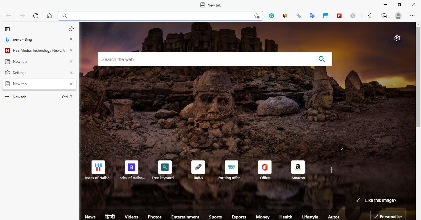 Turn on Microsoft Edge Browser Vertical Tabs bar