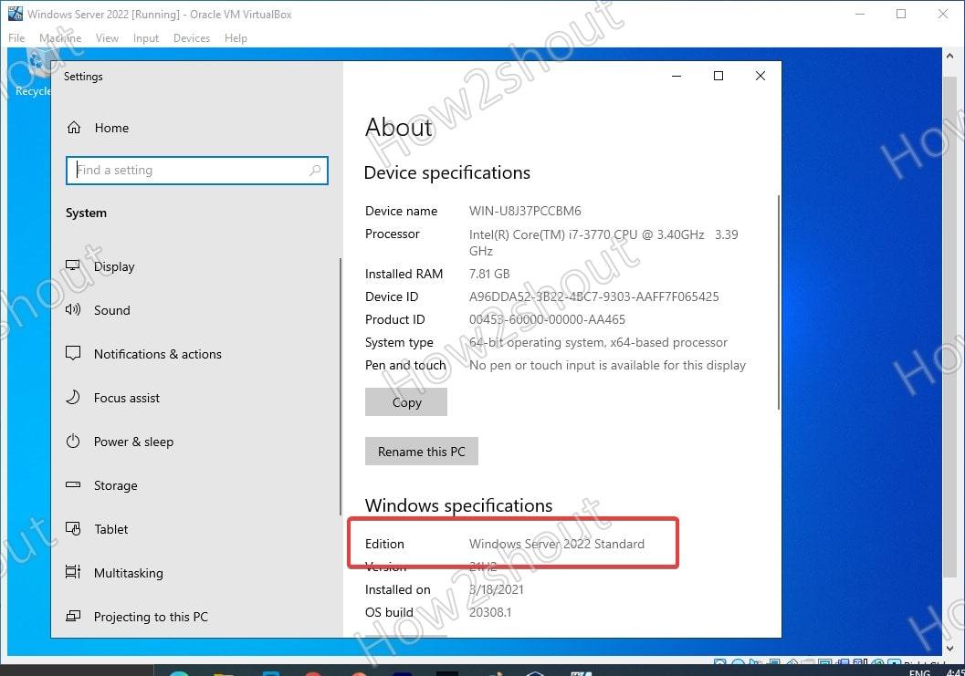 WIndows Server 2022 Installad virtualbox