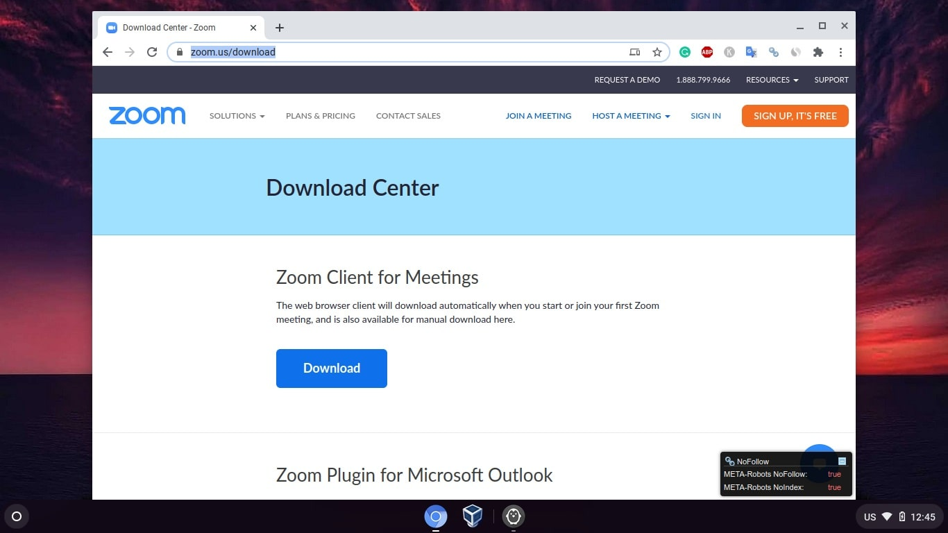 Zoom Chrome OS client download page min
