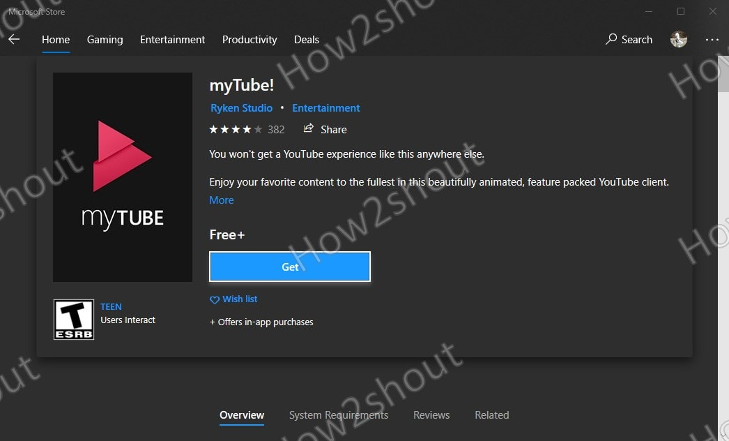 Download myTube Youtube client app on Windows 10