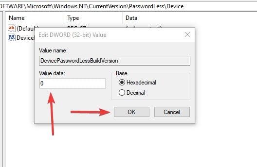 Edit Regedit value to disable Windows 10 password login