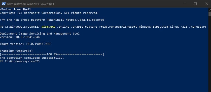 Enable WSL using command line in Powershell min