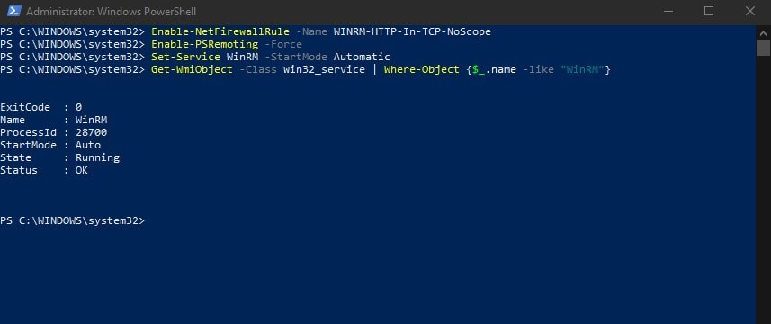 Enable Windows Remote Management HTTP In PowerShell WinRM