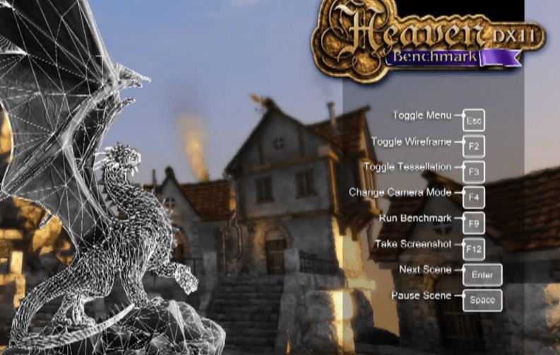 Heaven UNIGINE  GPU benchmark software screenshot