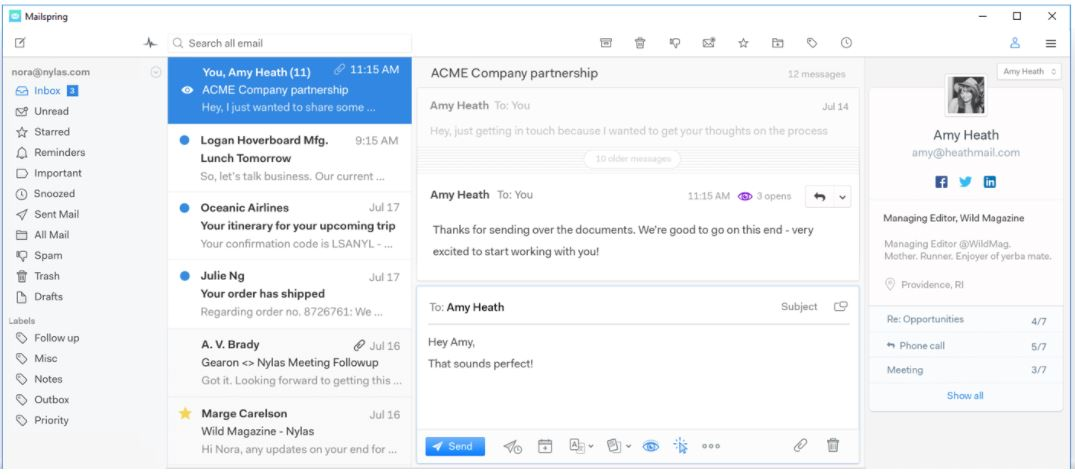 Mailspring free email client