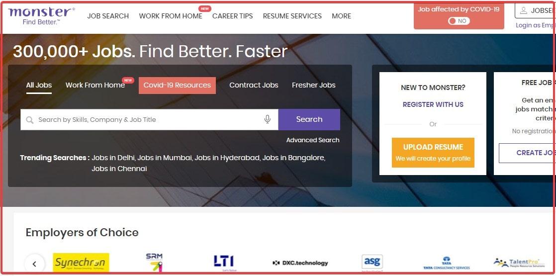 Monster India top Job serach website