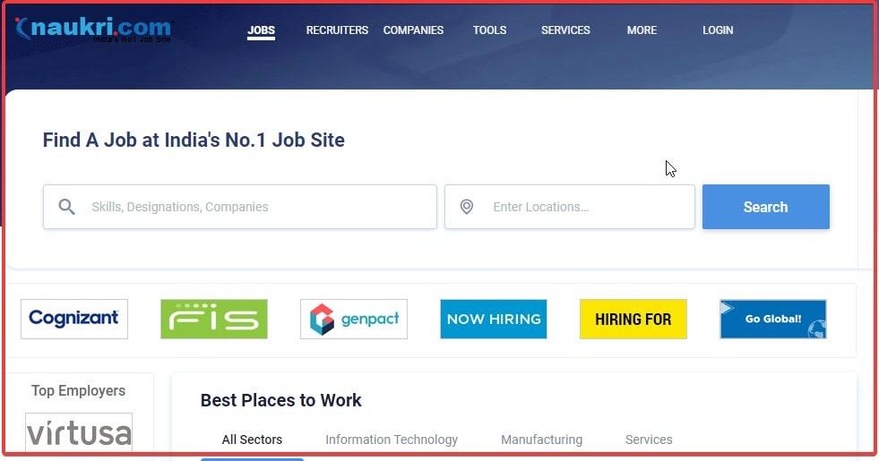 Naukri.com website search work online