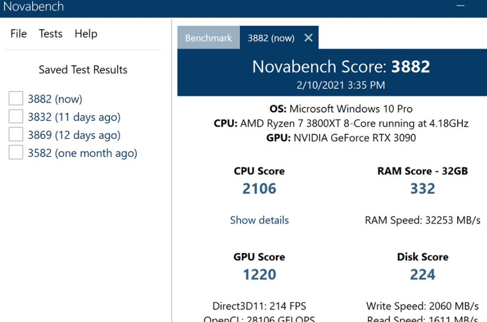 Novabench graphic Processor benchmark free