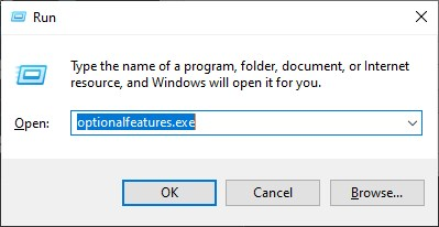 Run command to open Turns windows features on or off