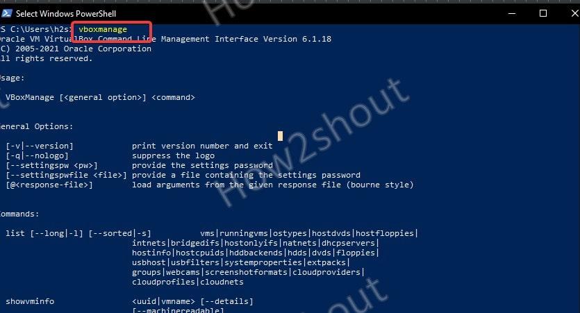 Run vboxmanage virtualbox using Powershell command