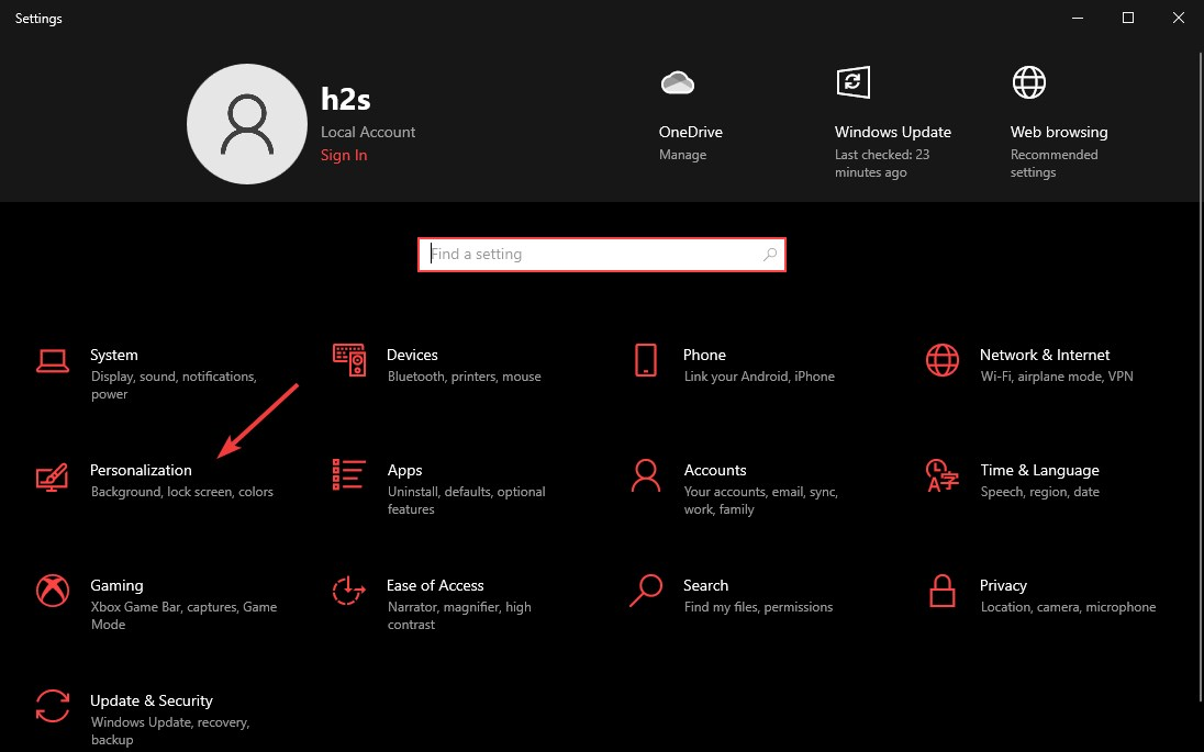 Windows 10 personalization settings