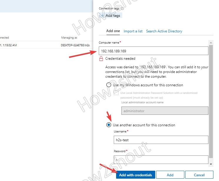 Add remote PC Username and Password to authenticate WINRM