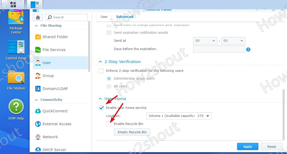 Enable Home User service and recyclebin on Synology