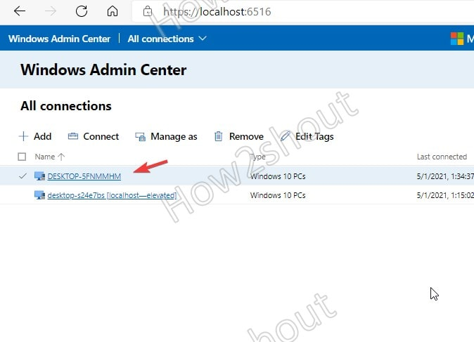 Select Added system to manage it