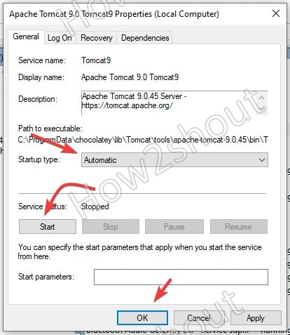 Set Apache Tomcat service automatic Windows
