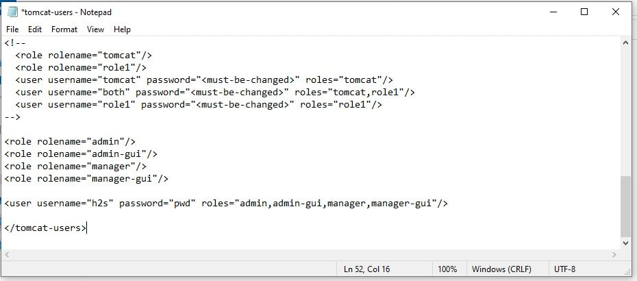 Set username and password tomcat