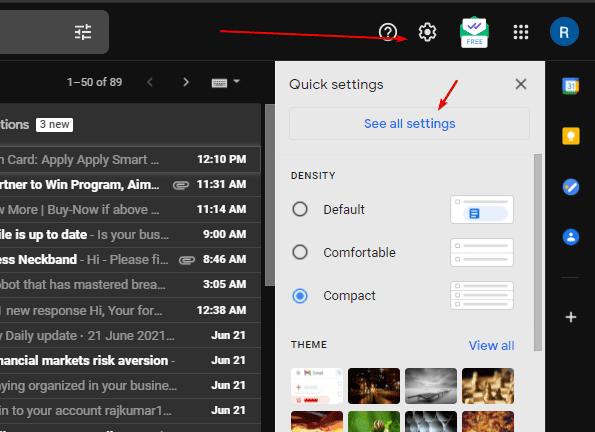 Access Gmail Settings