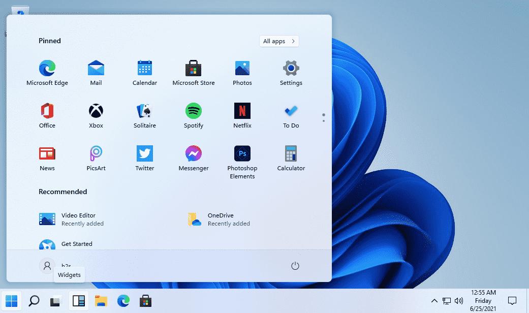 Change Windows 11 Start menu position to left side