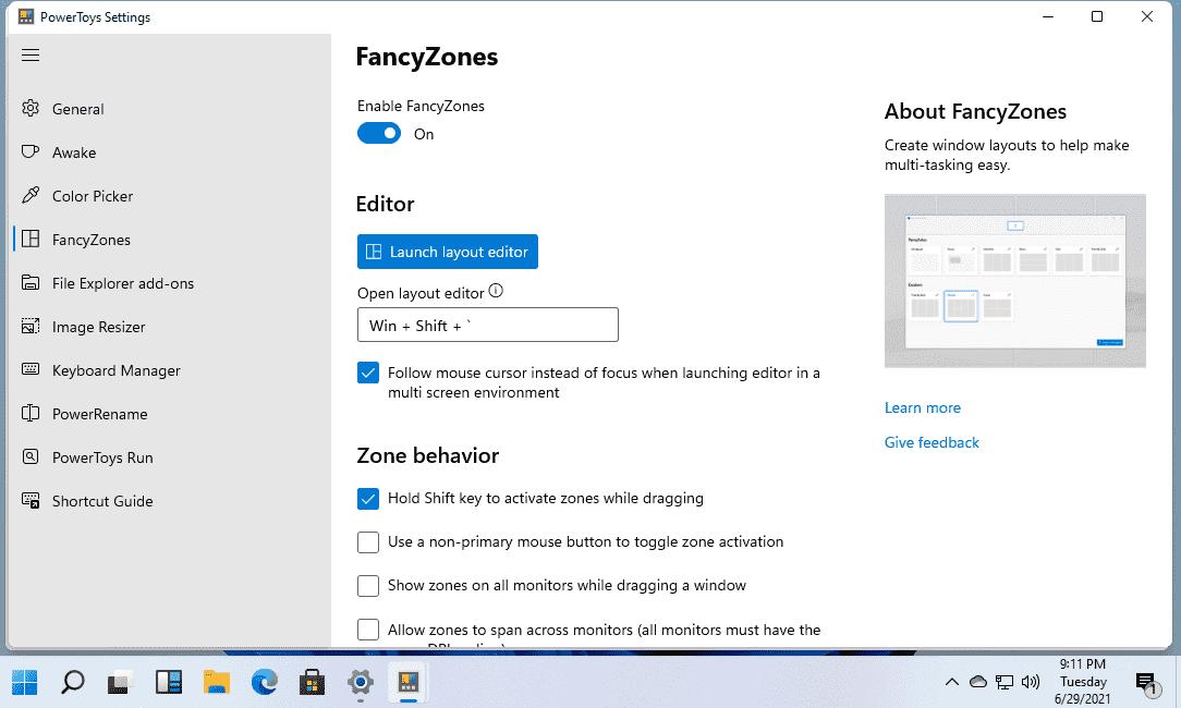 FancyZones Powertoys Windows 11