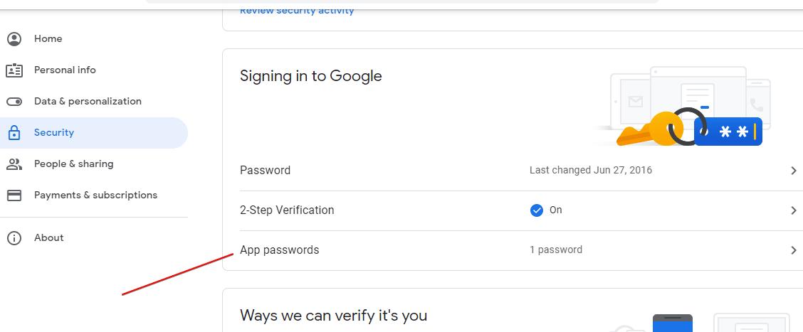 Generate Google Account App specific password