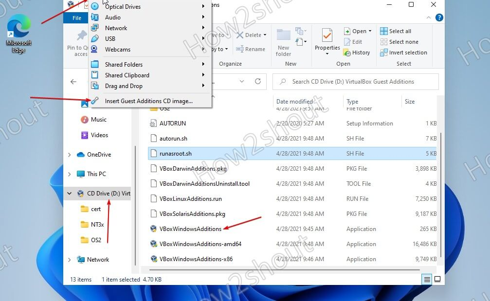 Install VirtualBox Guest addtions in Windows 11