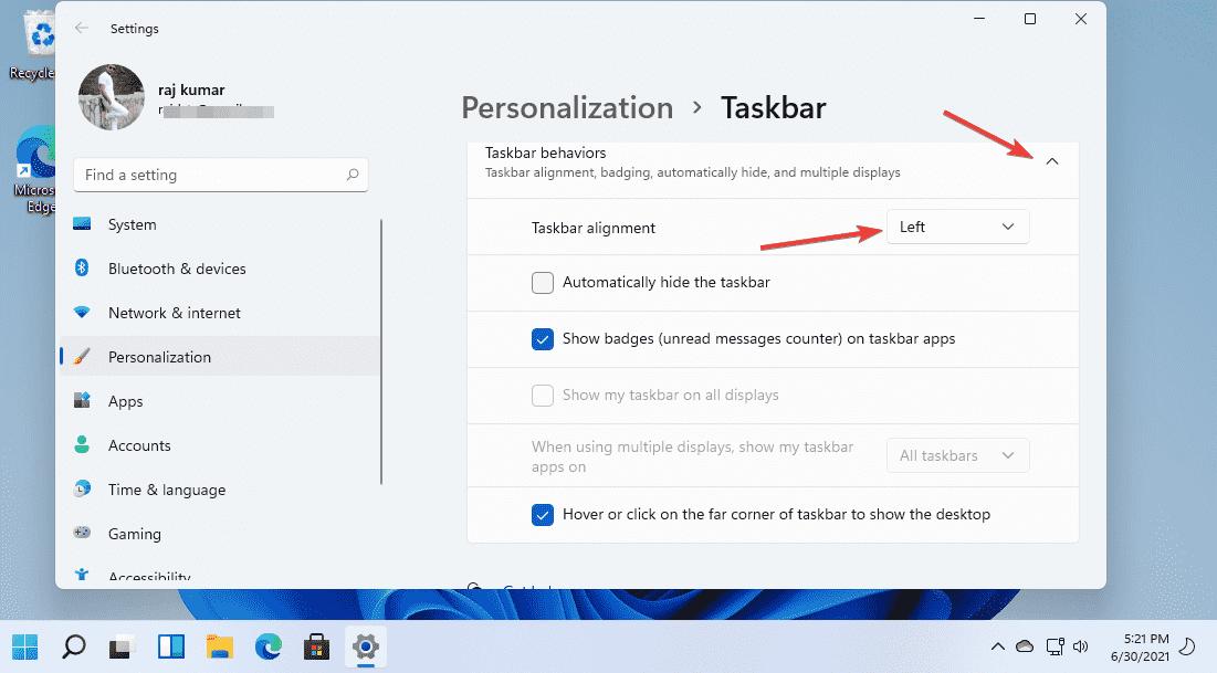Move Windows 11 Taskbar to left
