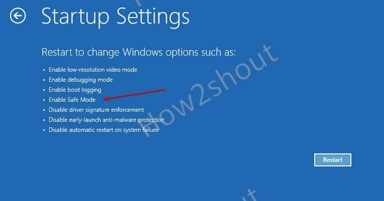 Restart to Chnage WIndows 10 boot options