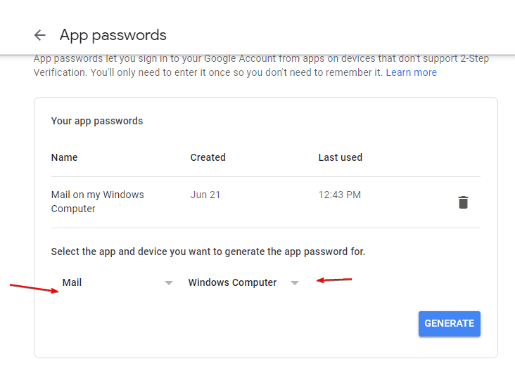 Select the app and device you want to generate the app password