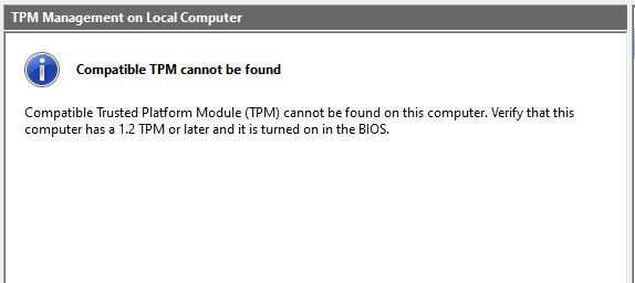 compatible TPM cannot be found