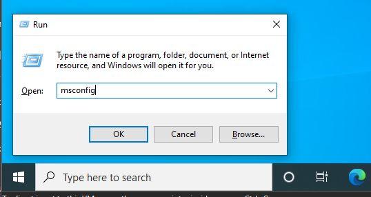 open Windows configuration