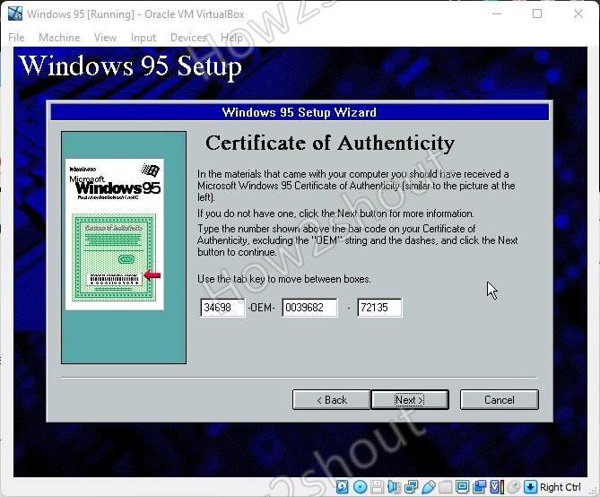 Add Windows 95 Product key
