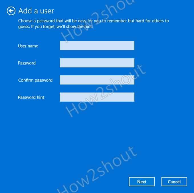 Add user password
