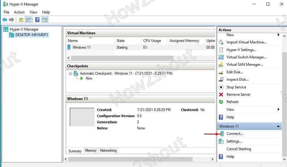 Connect running VM interface