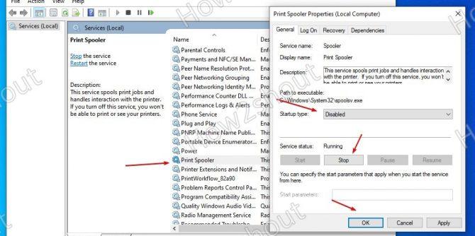 Disable Print Spooler service in Windows 10