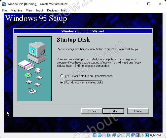 Do not create start up disk