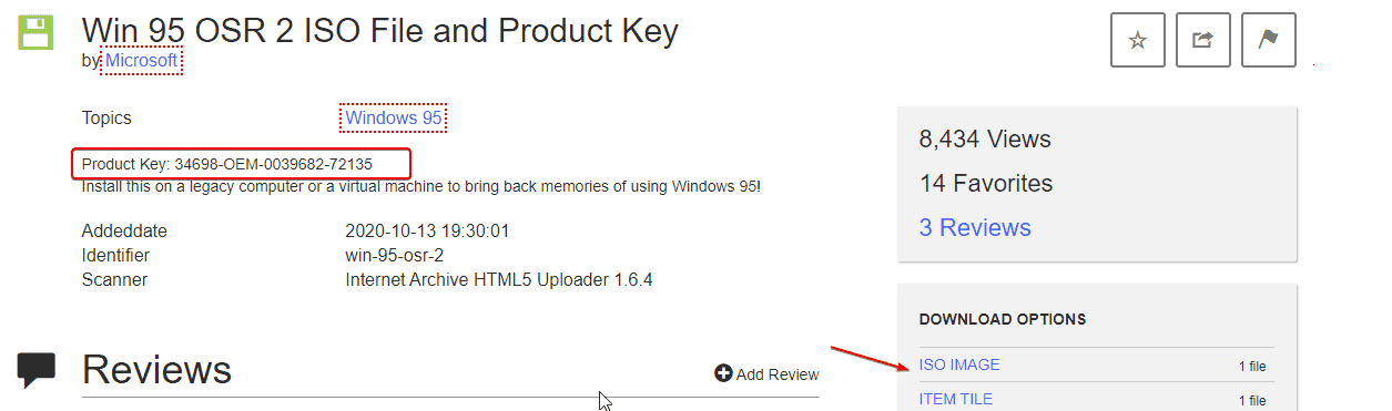 Download Windows 95 ISO file with product key
