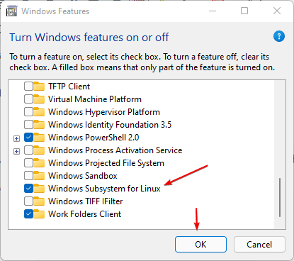 Enable WIndows subsystem for Linux on WIndows 11